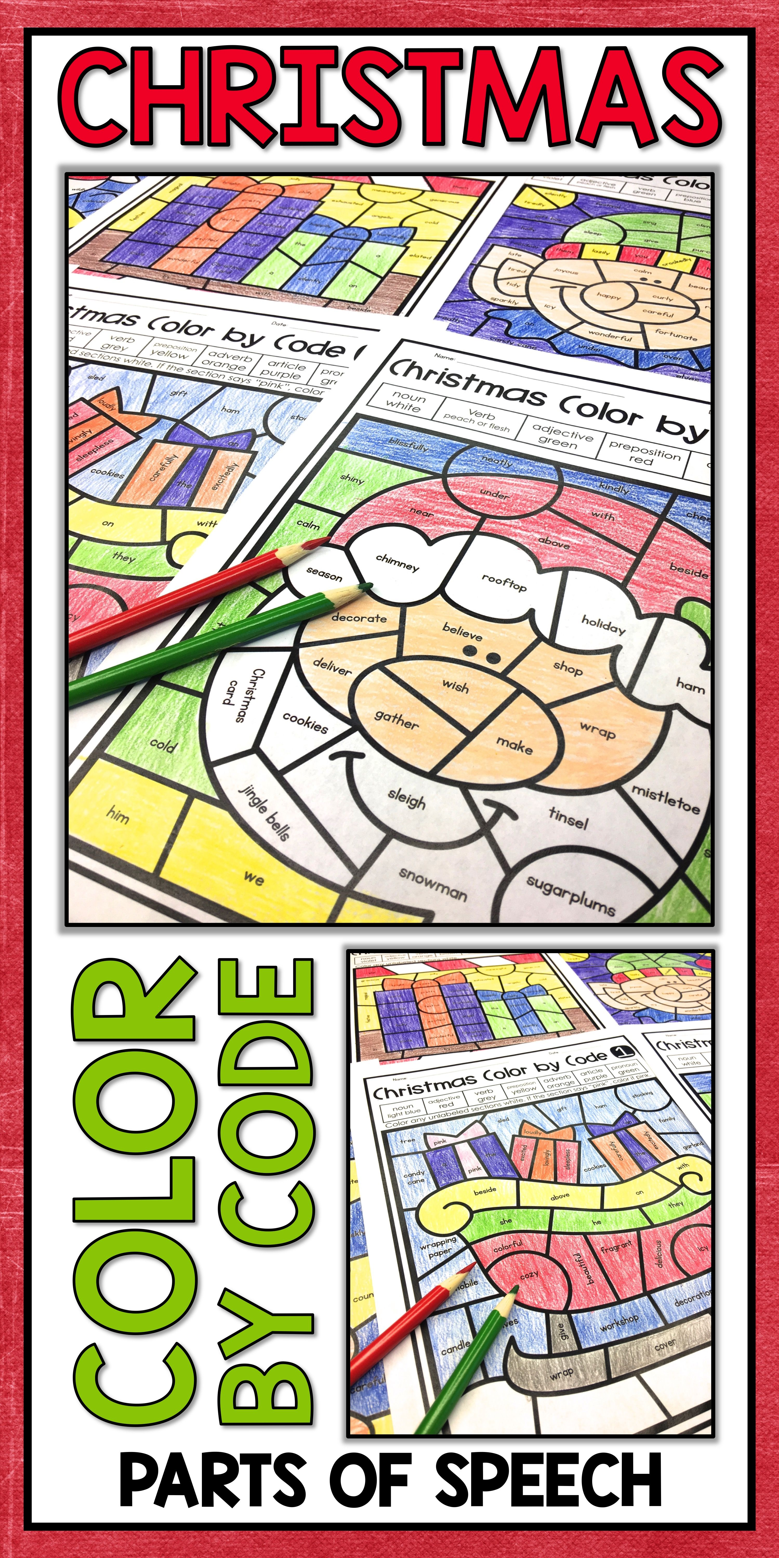 Christmas Coloring Pages Parts Of Speech Color By Number