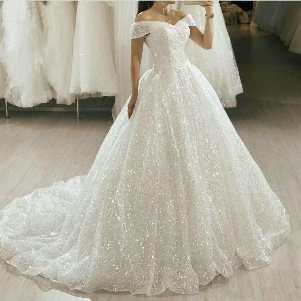 Princess Off Shoulder Wedding Dresses Shiny Bridal Gown Boho Beach Sweep Train Ball Gown Wedding Dress Glitter Wedding Dress Shiny Bridal Gown [ 969 x 970 Pixel ]