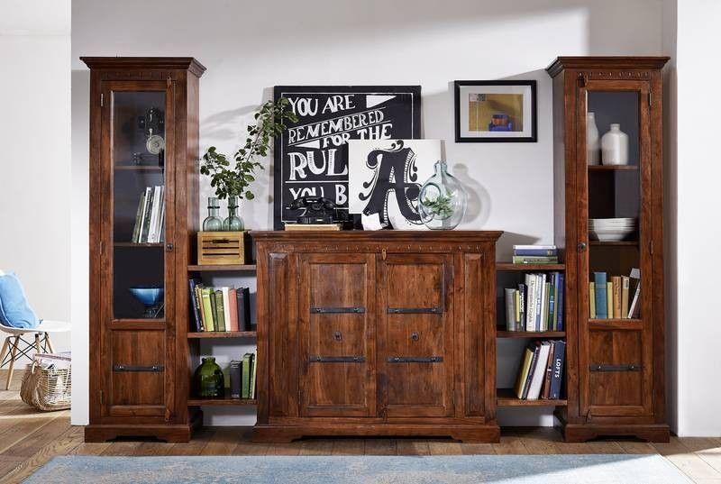 Wohnzimmer Kolonialstil ~ Kolonialstil wohnwand massiv akazie möbel oxford schränke