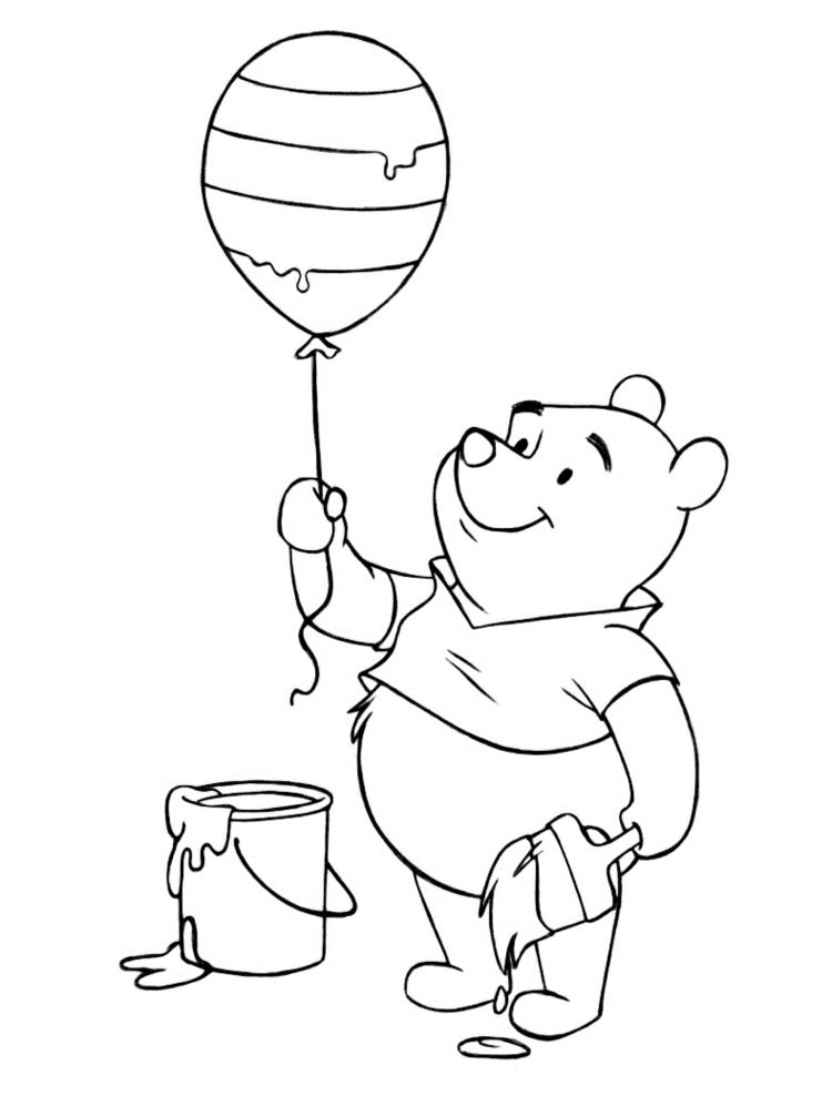 Ausmalbilder Kostenlos Puh Bär Ballonen Kinder