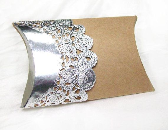 Kraft pillow boxes by owlandthistle shiny, shiny silver doily box!