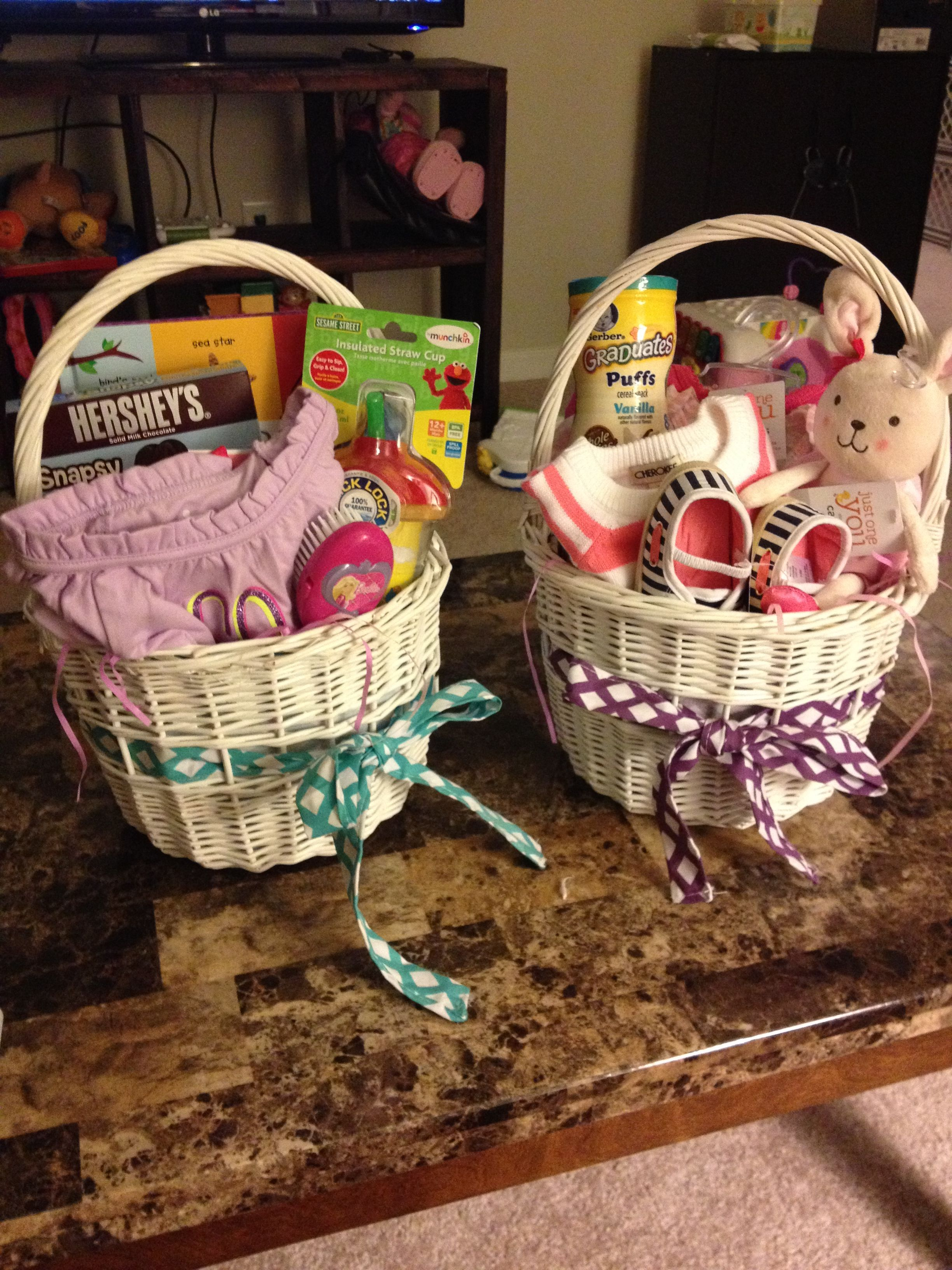 Easter baskets for a 2 year old girl on the left and a 9 month old