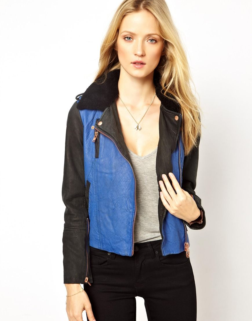 Eleven Paris Trinite Colourblocked Leather Biker Jacket with Shearling Collar