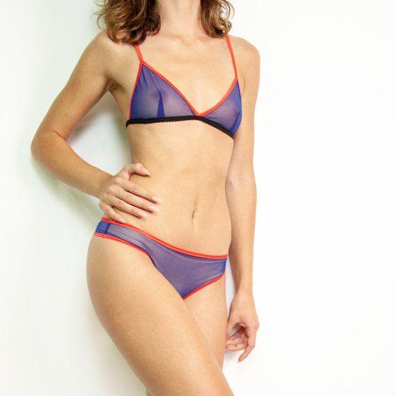 07ead8109 Basic cobalt blue lingerie set Sheer mesh clothing set Erotic gift for  girlfriend from boyfriend Han