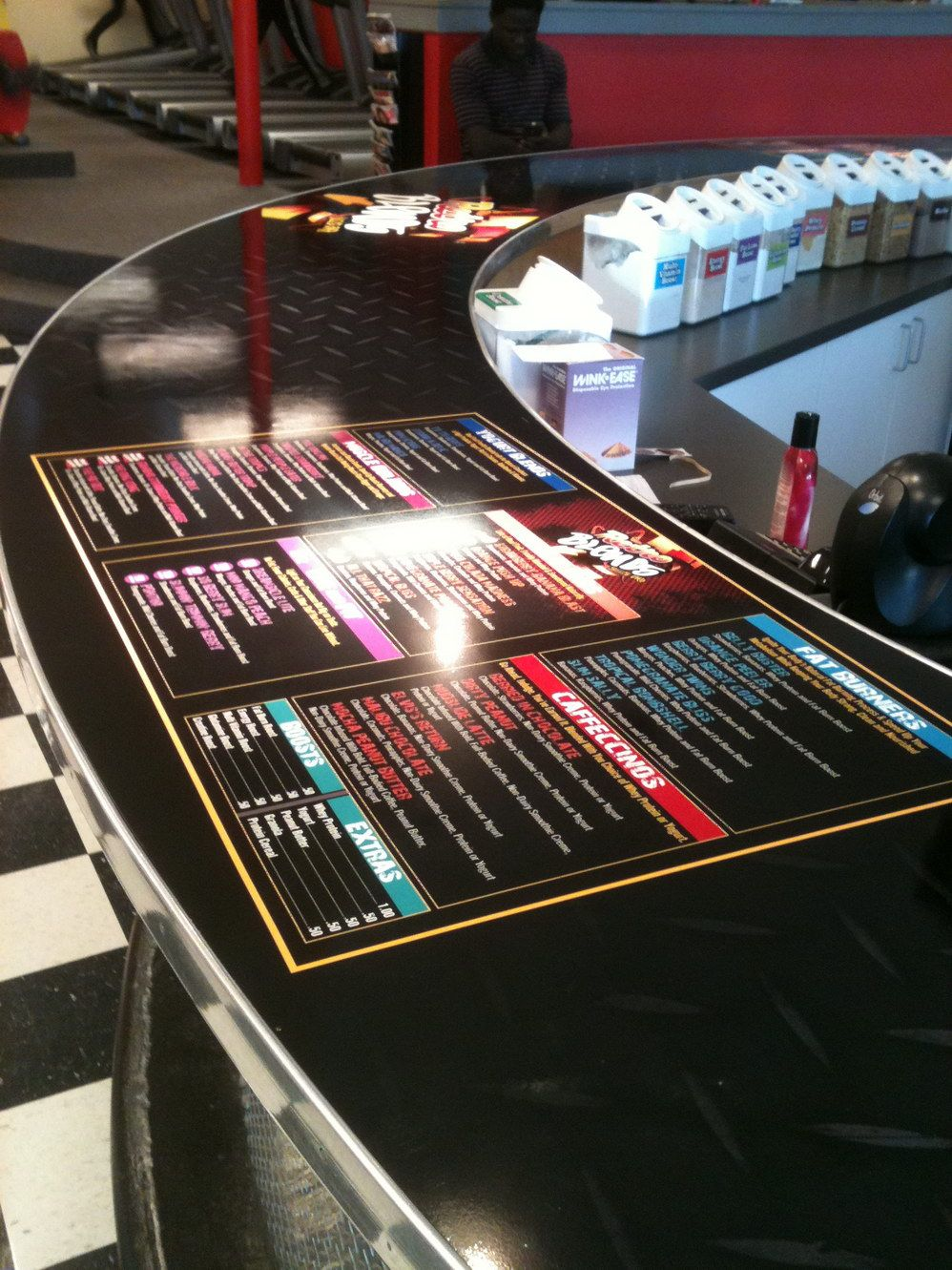 Retro Fitness Counter We used 3MIJ180Cv3 wrap material to wrap this 20′ circular countertop. #coastalsign #counter #3M