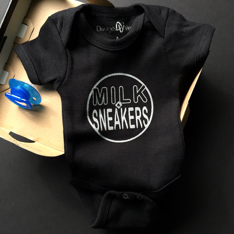 f01c5788b3f 'Milk & Sneakers' Onesie for your Little Sneakerhead!   Shop:  www.divulgevein.com. '