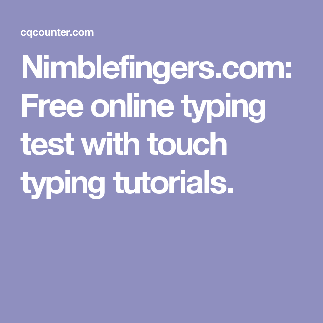 Nimblefingers.com: Free online typing test with touch typing ...