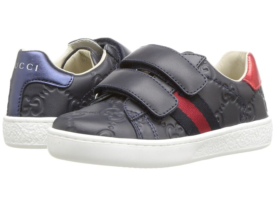 2d8003ca82630 Gucci Kids New Ace V.L. Sneakers (Toddler) Kids Shoes Midnight Blue Bord