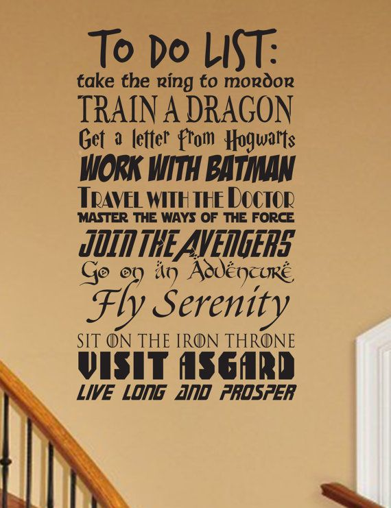 Geek to do list wall decal CUSTOMIZABLE Fantasy geekery storybook magic fairy tales nursery