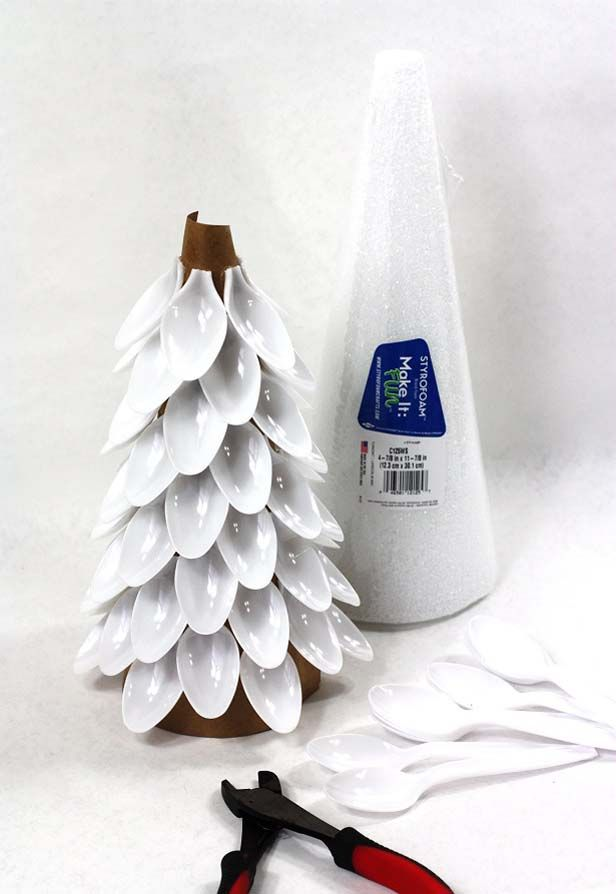 Christmas Trees Made From Styrofoam Cones And Plastic Spoons Winter Wonderland Decorations Winter Wonderland Christmas Rustic Christmas