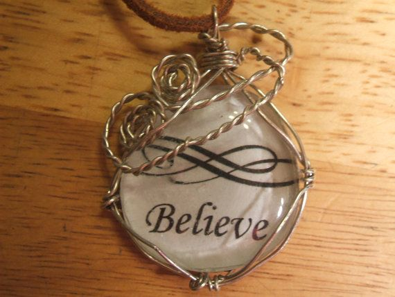 Inspirational Words Believe Wire Wrapped Glass Pendant on Leather Cord by radwrapz, $15.00