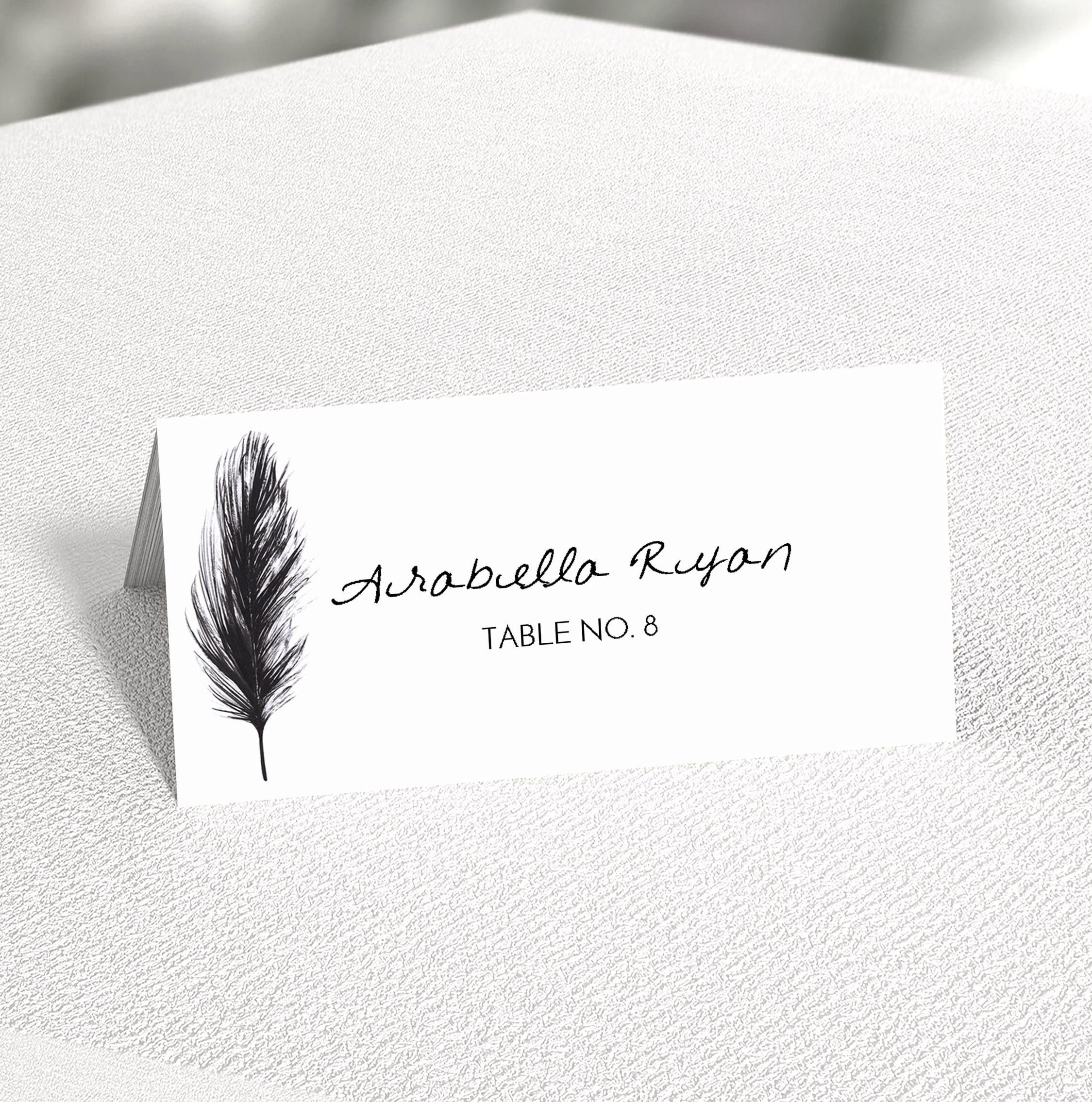 Black Feather Place Cards or Escort Cards Personalised or Printed