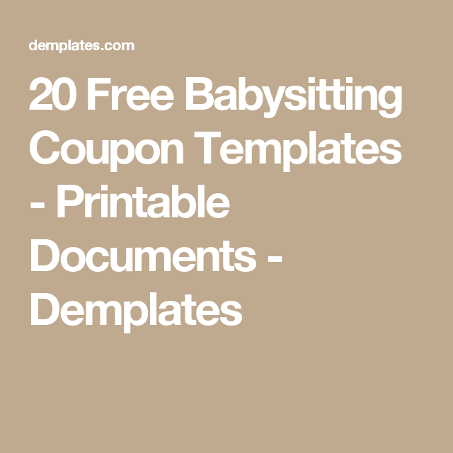 Free Babysitting Coupon Templates  Printable Documents