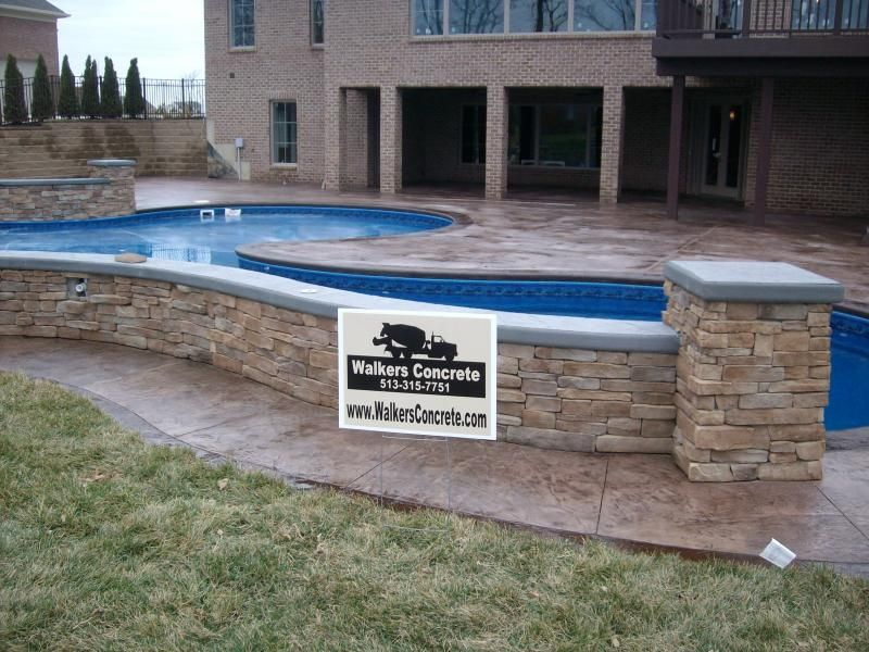Stamped Concrete Pool Deck With Seating Wall Cincinnati Ohio