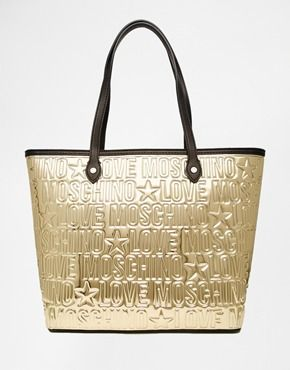 love moschino goldene shopper tasche mit pr gemotiv in metallic optik inspirationen. Black Bedroom Furniture Sets. Home Design Ideas