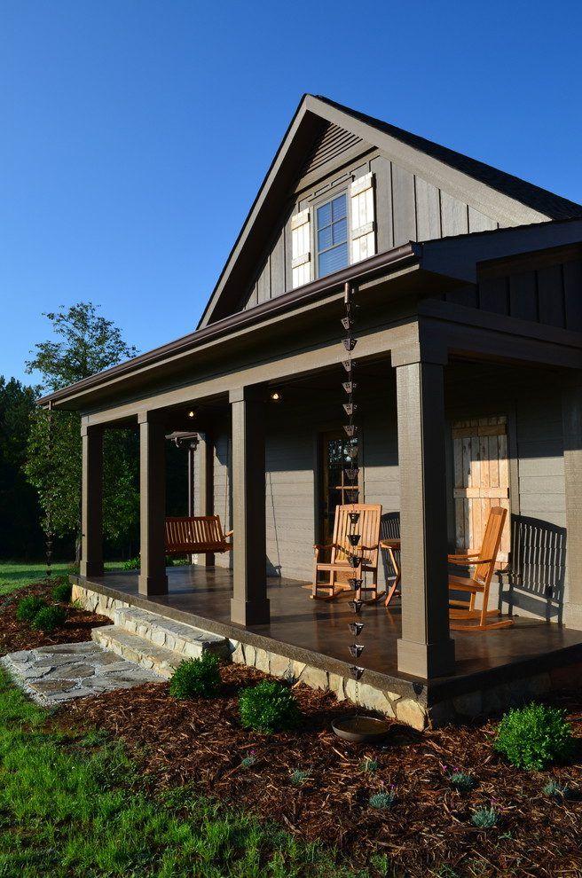 Concrete Porch Designs Porch Eclectic With Rain Chain Stone Foundation Brown Siding Porch Design Concrete Porch Rustic Wood Doors