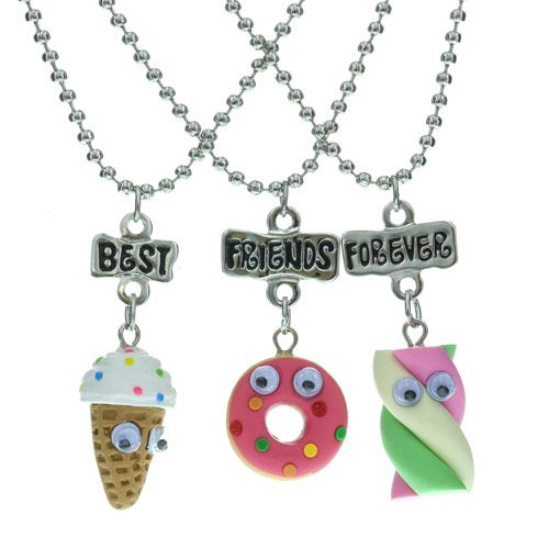 3 pack of yummy snack bff necklaces jewellery best