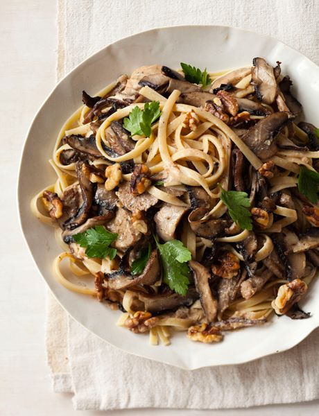 Creamy Triple-Mushroom Fettuccine with Walnuts -  this creamy, meaty pasta is a plateful of heaven with layer after layer of intense mushroom flavor