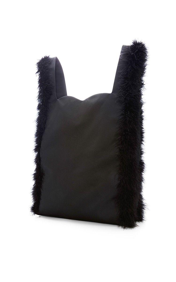 Fuzzy Trim Satin Tote by Simone Rocha ( )  f4c0536ed538b