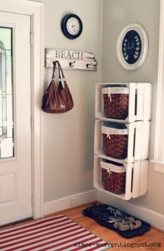This could work for our shoes and backpacks that clutter our floor in our back entry!