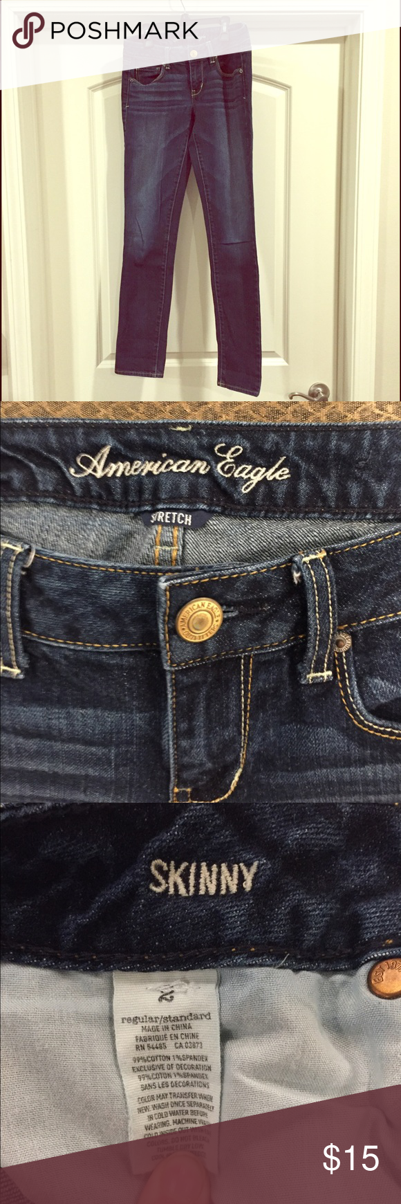 AE Skinny Jeans - Size 2 Dark wash Skinny Jeans from American Eagle! Size 2 and are older style so jean material (not jegging) but still Skinny Jeans! American Eagle Outfitters Jeans Skinny