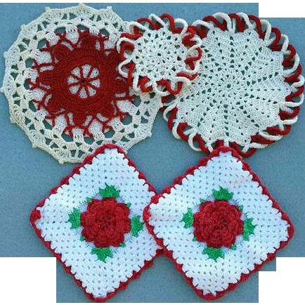 Vintage Crochet Hot Pad / Pan Holders / 1950s Hand Crochet - Vintage Crochet Hot Pad / Pan Holders / 1950s Hand Crochet