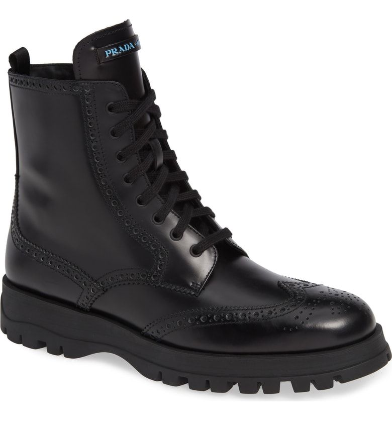 53a48efc428 Free shipping and returns on Prada Lace-Up Combat Boot (Women) at ...
