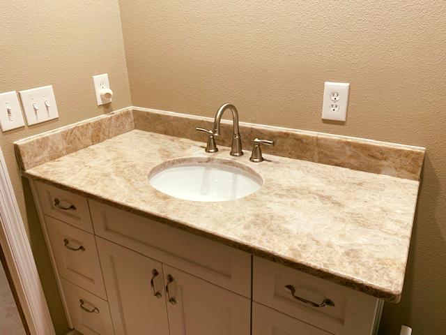 Beautiful Custom Made Small Bathroom Countertop Made By Using Perla Venatta Color Granite Which Is Bathroom Countertops Small Bathroom Countertop Countertops