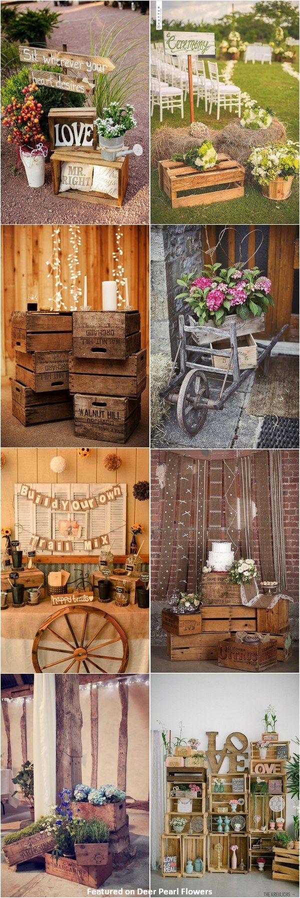 Diy rustic wedding decor ideas   Rustic Country Wooden Crates Wedding Ideas  Pinterest  Wooden