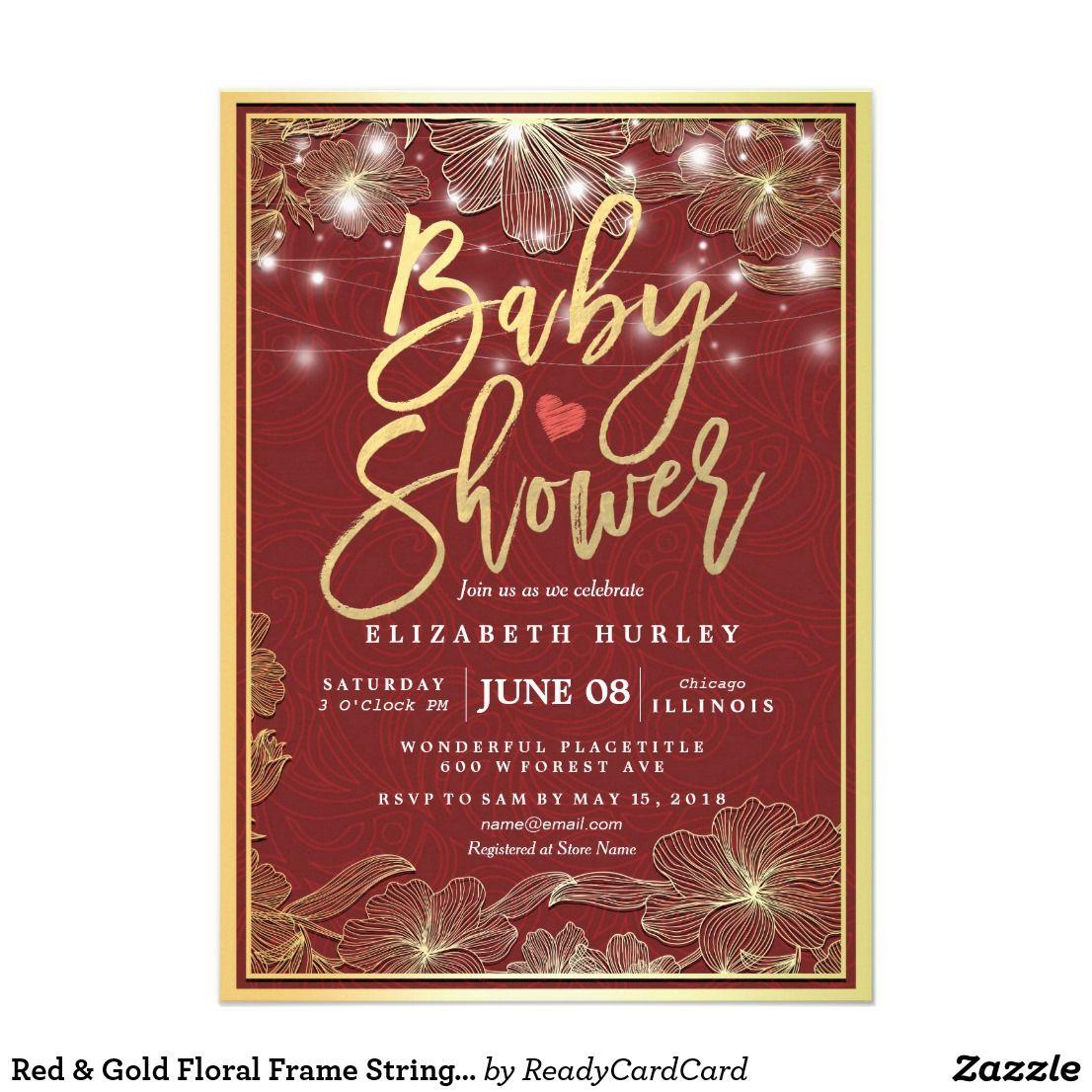 Red U0026 Gold Floral Frame String Lights Baby Shower Card | Red Gold .
