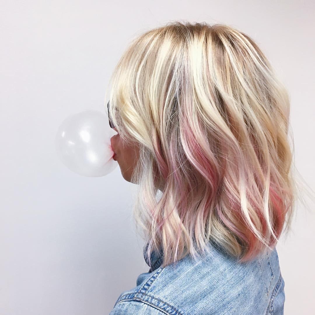 Peek A Boo Pink Highlights Pink Blonde Hair Hair Color Pastel Blonde Hair With Pink Highlights