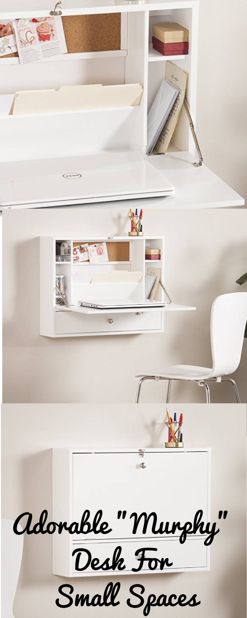 How cute is this mounted fold out desk itus like a murphy bed