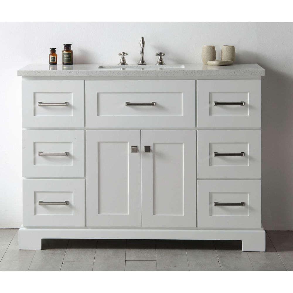 legion quartz top white 48 inch single bathroom vanity 16945