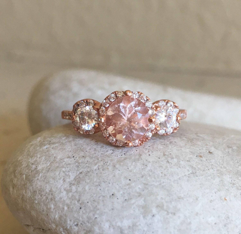 Morganite Rose Gold Ring Morganite Bridal Set Morganite