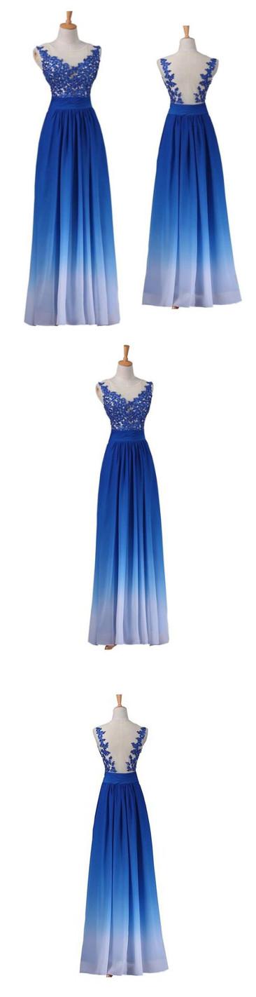 Chic Royal Blue Prom Dress A-line Applique Off Shoulder Long Prom ...