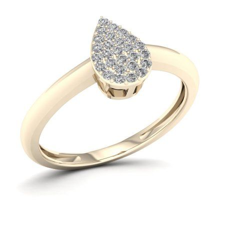 Imperial 1/10ct TDW Diamond 10K Yellow Gold Pear Shape Cluster Ring, Women's