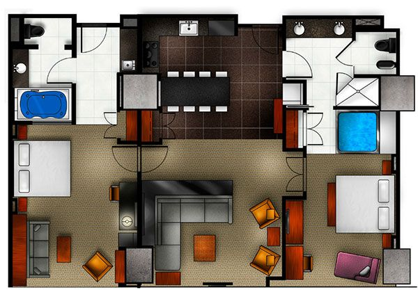 Two Bedroom Floor Plan For Elara Hilton Grand VacationsCenter Magnificent Las Vegas Hotels Suites 2 Bedroom