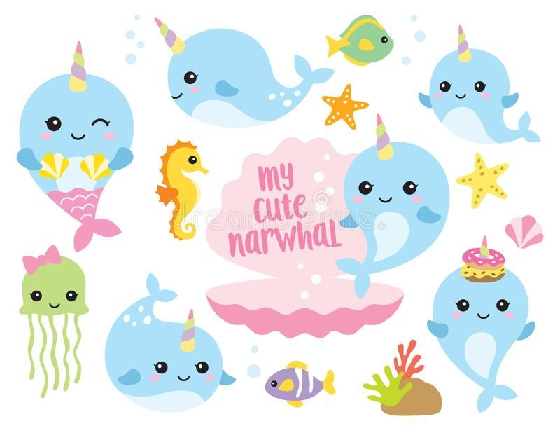 Cute Baby Narwhal Or Whale Unicorn With Other Sea Animals Vector Illustration O Sponsored Animals Sea Il Baby Clip Art Narwhal Baby Narwhal