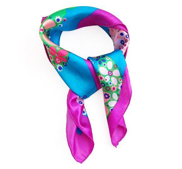 purple edge fashion flower square scarf