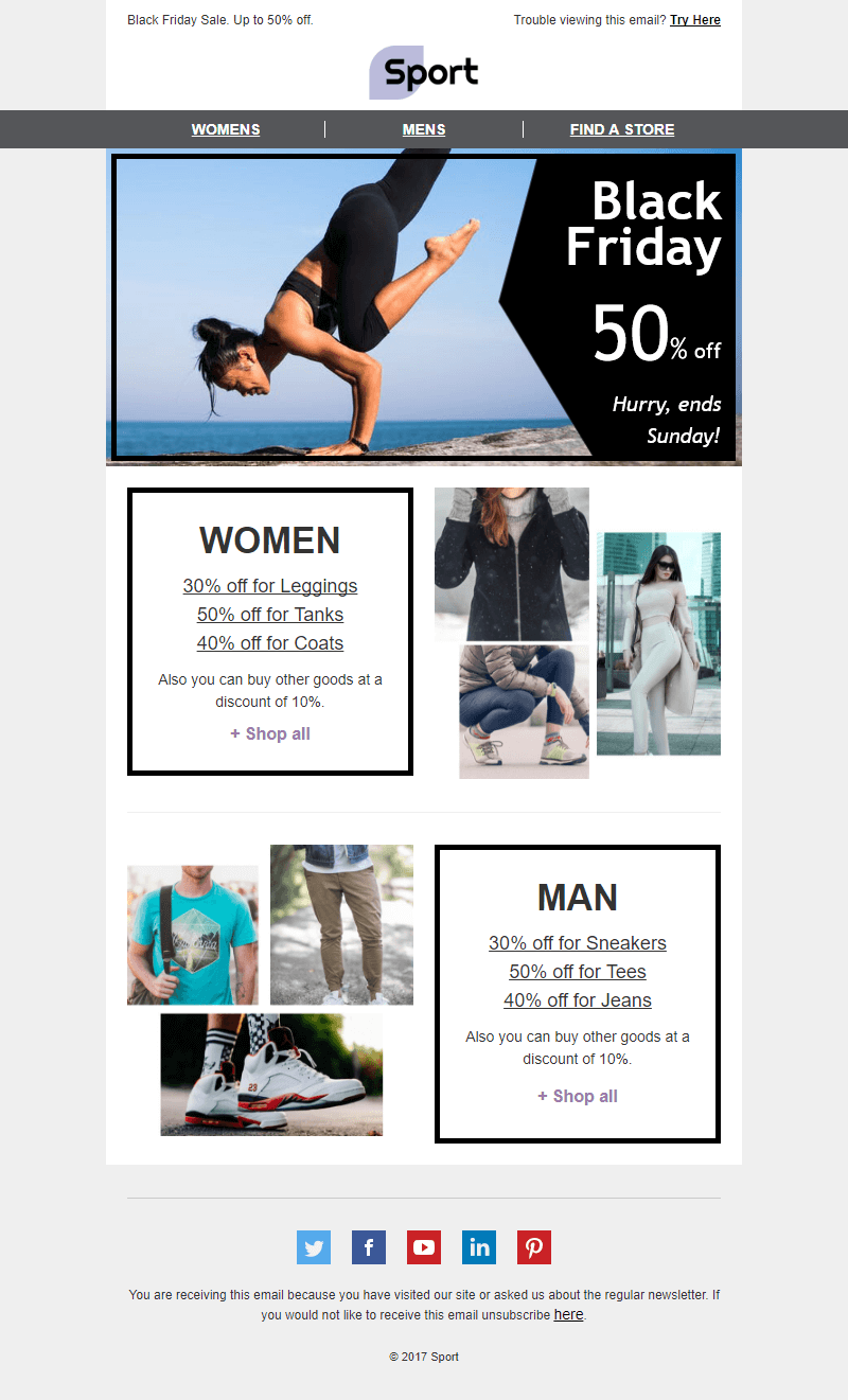 Black Friday Email Template Flexible Prices For Sport Industry
