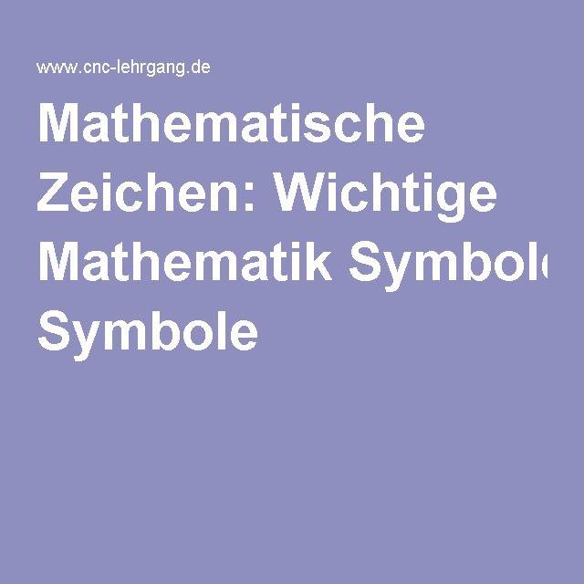 Mathematische Zeichen: Wichtige Mathematik Symbole