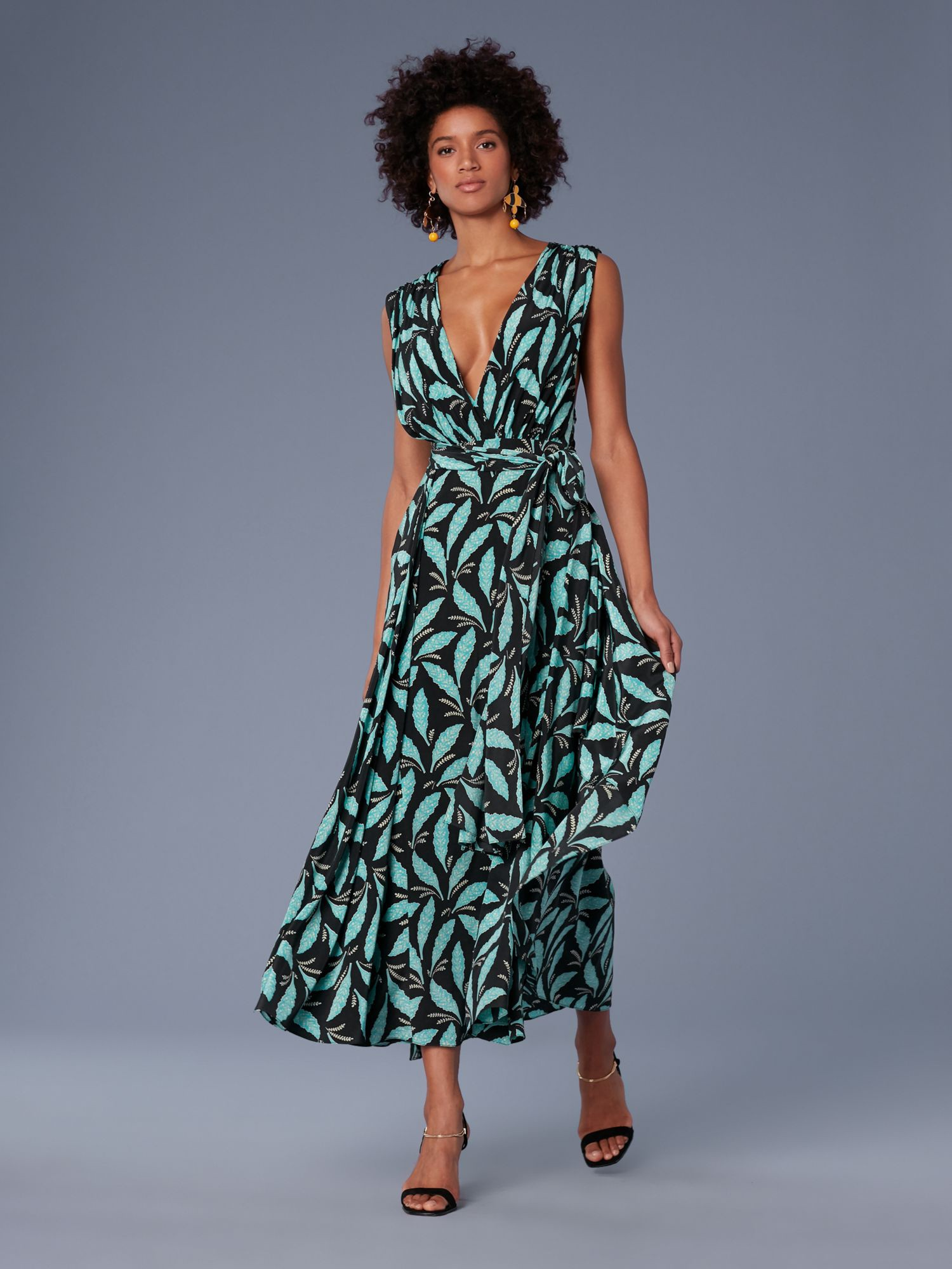66c4be3ba11 Diane Von Furstenberg Dvf Sleeveless Draped V-Neck Maxi Dress - 2 ...