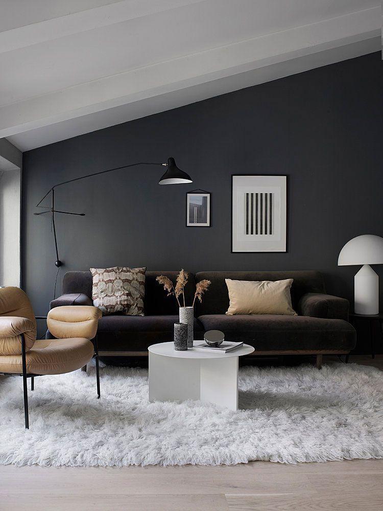 Modern Interior Lighting Inspirations Www Delightfull Eu Visit Us For More Modern Interior Grey Walls Living Room Dark Living Rooms Wall Lights Living Room #neon #light #living #room