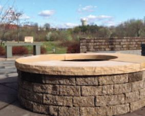 Stone Fire Pit With Capstone Sitting Ledge Fire Pit Stone Fire Pit Pavers