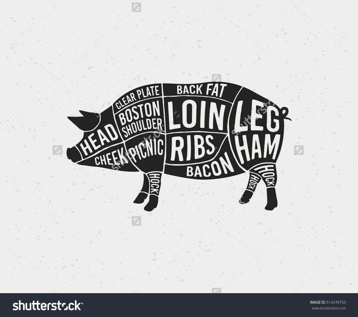diagrams for butcher shop scheme of pork animal silhouette pork vector illustration  [ 1500 x 1329 Pixel ]