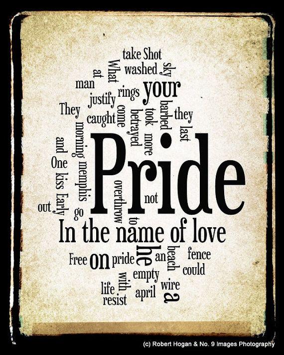 Pride In The Name Of Love Lyrics U2 Word Art Word By No9images Lyrics Words U2 Lyrics