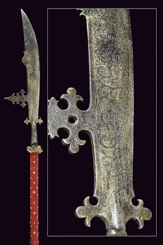 A parade falchion halberd from the property of the guard of Cardinal Camillo Borghese, dating: circa 1600 provenance: Italy