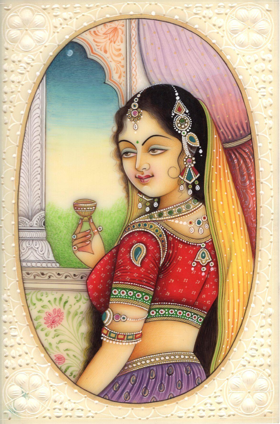 Indian Miniature Painting Lady Princess Handmade