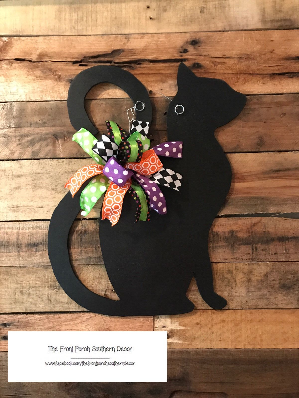 A Personal Favorite From My Etsy Shop Https Www Etsy Com Listing 618132129 Black Cat Door Hanger Halloween Door Wreaths Halloween Wreath Door Hangers