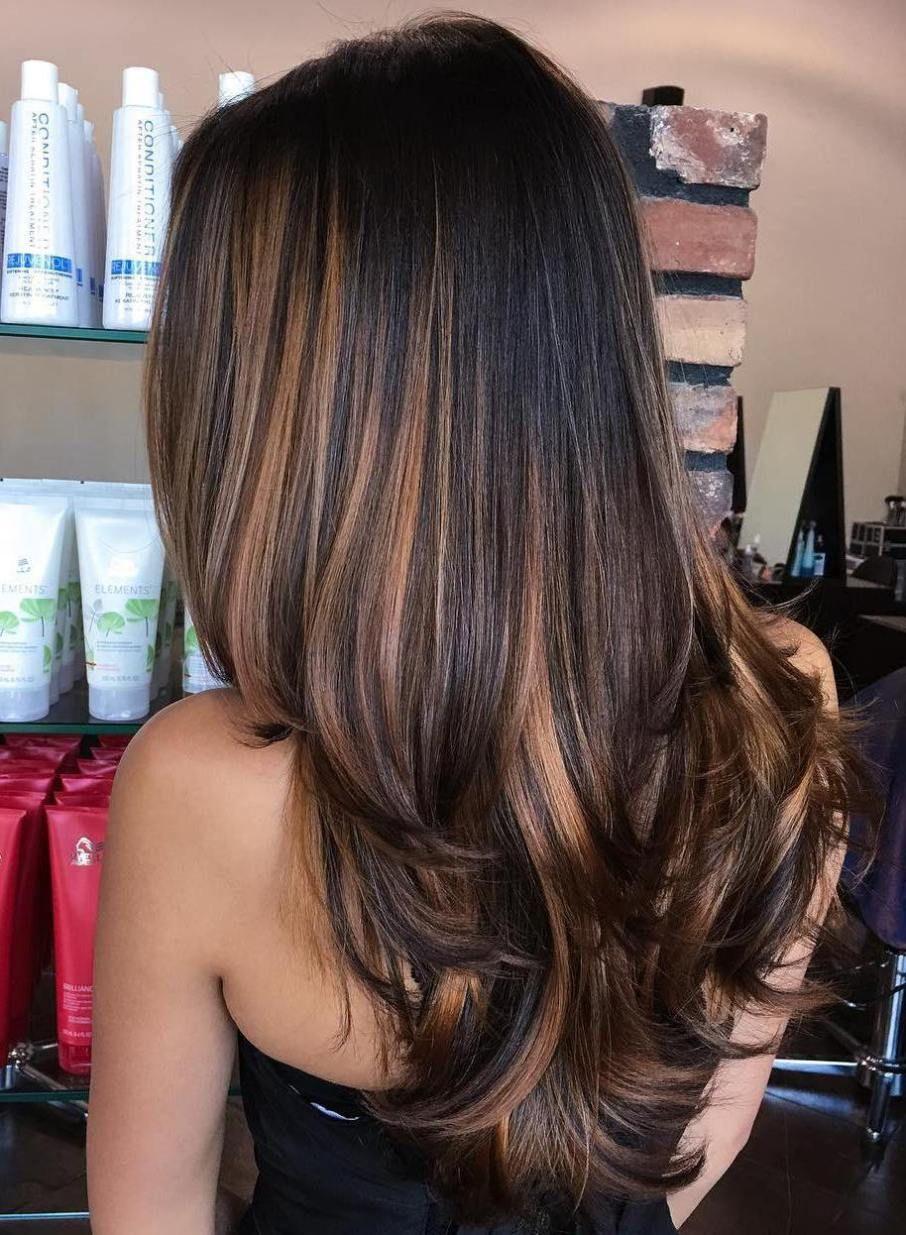 Black hair with caramel brown balayage highlights for Balayage braun caramel